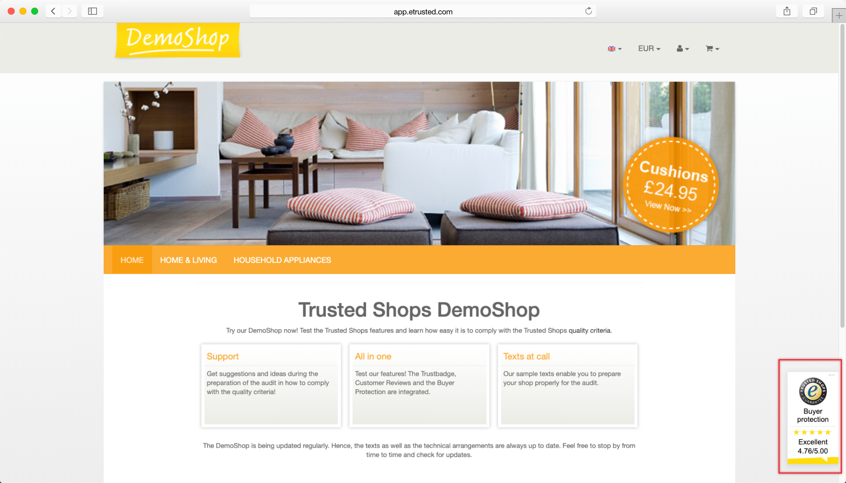 Trustbadge being displayed in the bottom right corner of an online shop